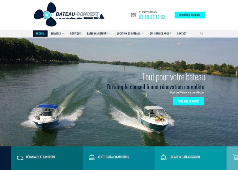 Création du site internet de bateau Concept à Mâcon. Charte graphique et webdesign