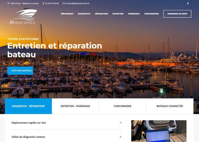 Création site internet de JMboatservice, responsive design. Charte graphique et logo